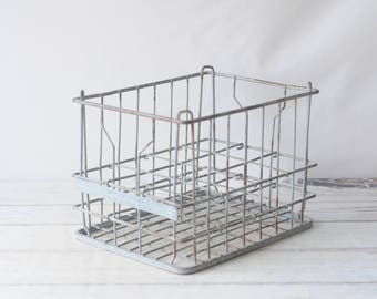 Wire Milk Crate Millers Dairy Metal Milk Crate 6-1953 Culver IND Milk Delivery Crate Box #2