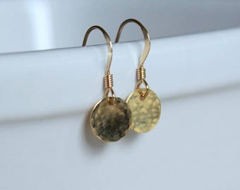 Tiny Dot Earrings Tiny Gold Earrings Everyday jewelry small disc earrings dainty gold earrings gold filled earrings Simple Jewelry