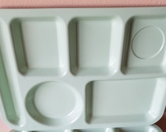 Green Melmac Cafeteria Lunch Trays Vintage Set of 6 Melamine Trays 3 Arrowhead & 3 King Line