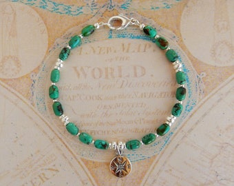 Give Her a Rose - Compass Rose and Turquoise Charm Bracelet