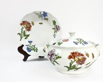 Soup Tureen & Underplate, Cordon Bleu, French Style Soup Tureen, Vintage Covered Soup Tureen, Botanical and Butterfly Pattern, c1990s