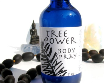 tree power body spray, facial toner, aftershave, deodorant, room spray, linen spray, cooling mist