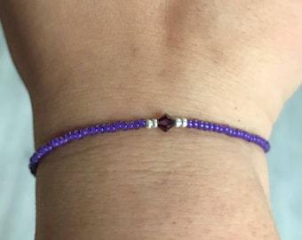 Purple Swarovski/miyuki bracelet, purple bracelet, swarovski bracelet, miyuki bracelet, amethyst beacelet, Christmas present, bridesmaids