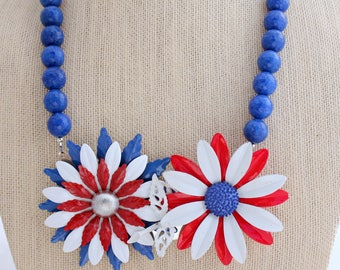 Collage Necklace, Flower Necklace, Statement Necklace, Patriotic Necklace, Mod Necklace, Upcycled Necklace,Upcycled Jewelry,Recycled Jewelry