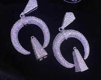 2sets 20-30mm Rhodium Plated Micro Pave CZ crystal diamond focal finding,double horns\cresent horn\upside-down moon shape charms jewelry