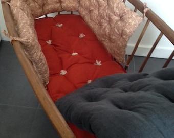 vintage wooden baby cradle, + his skin