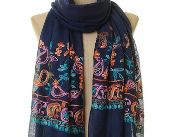 Embroidered Infinity Scarf | Navy Scarf | Embroidered Scarf | Navy Pashmina | Paisley Scarf | Anniversary Gift For Wife | Boho Scarf S-180