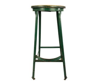 Vintage Industrial Drafting Stool Green Wood & Metal Great Piece
