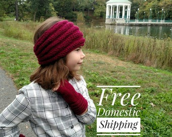 Wide Knit Set Ear Warmer Headband And Fingerless Gloves/ Ribbed Knit Fingerless Gloves/ Soft Winter Headband with Matching Gloves/ Mittens