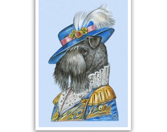 Kerry Blue Terrier Art Print - the Duke - Dog Gifts, Wall Decor - Pet Portraits by Maria Pishvanova