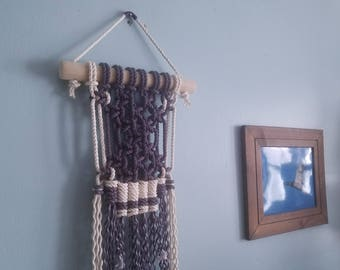 Steely Blue and White Macrame Wall Hanging / Medium size/ Hand dyed and Natural Cotton Rope