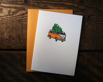 Letterpress Printed Volkswagen Bus Christmas Card - single