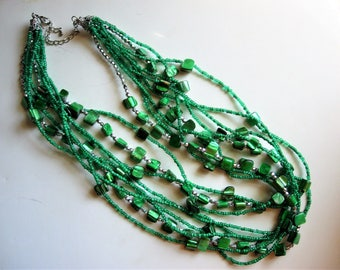 Vintage Green Multi Strand Dyed Shell and Glass Beaded Necklace