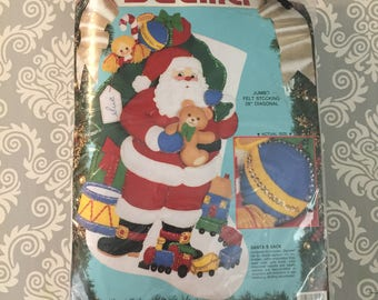 Bucilla Felt Christmas Stocking Kit - Santa's Sack - JUMBO