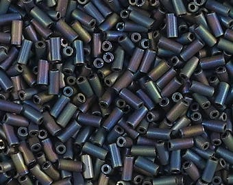 size 2 bugle bead, 5 mm long, matte, blue iris metallic, glass bugle beads-8 grams-Bin# 45