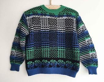 Kids sweater vintage Hand green blue black Grey