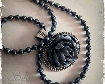 Gothic Rose Necklace, Grey Rose, Blooming, ooak, , rose, grey, romantic, dark romance, victorian, faux pearl, stone rose