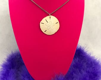 Fresh From The Ocean Sand Dollar On Silver Tone Chain Necklace New