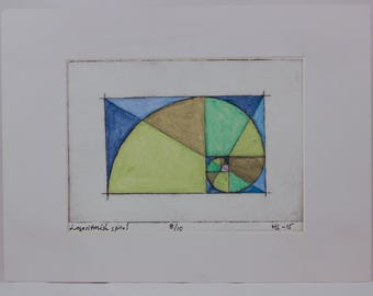 Logarithmic spiral. Hand coloured drypoint print mounted in passe-partout