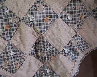 Baby or Crib Quilt in Tan and Blue Cotton Fabrics Featuring Elephants, Giraffes and Zebras