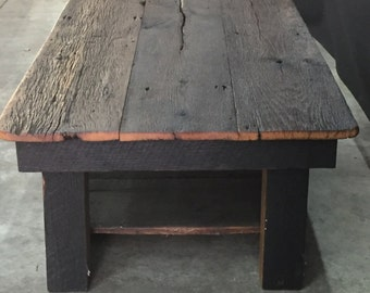 Coffee table Reclaimed Barn Wood Table Galvanized pipesteam