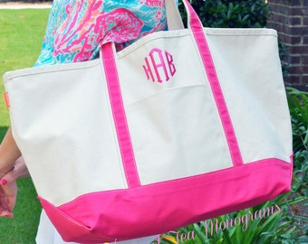 Large Monogrammed Canvas Boat Tote