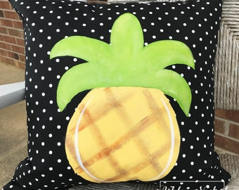 """18"""" Outdoor Pineapple Yellow Pillow"""