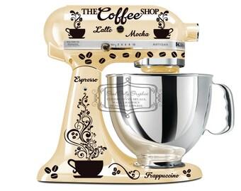 Kitchen mixer decal set COFFEE theme