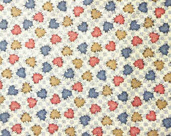 Stitched Hearts on Blue Checkerboard - Cotton Fabric - 1/2 yard