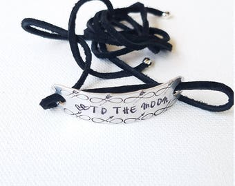 Custom Hand Stamped Infinity To The Moon  Wrap Bracelet  teenager gift suede cord Inspirational Jewelry gifts for her
