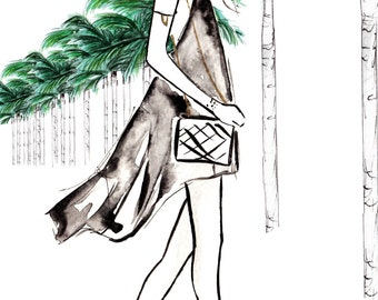 Digital Download -  Watercolour fashion illustration Titled Strolling Through The Hills