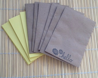 Handmade note cards and envelopes - yellow note cards with stamped craft envelopes set of 6