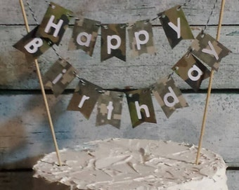 "Cake Bunting, ""Camo""  Happy Birthday, Camouflage, Cake Topper, Cake Banner"