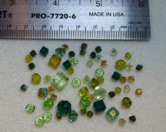 WAS 33.35 - Destash - Swarovski Crystal Mix - greens - variety shapes and sizes - beads C496
