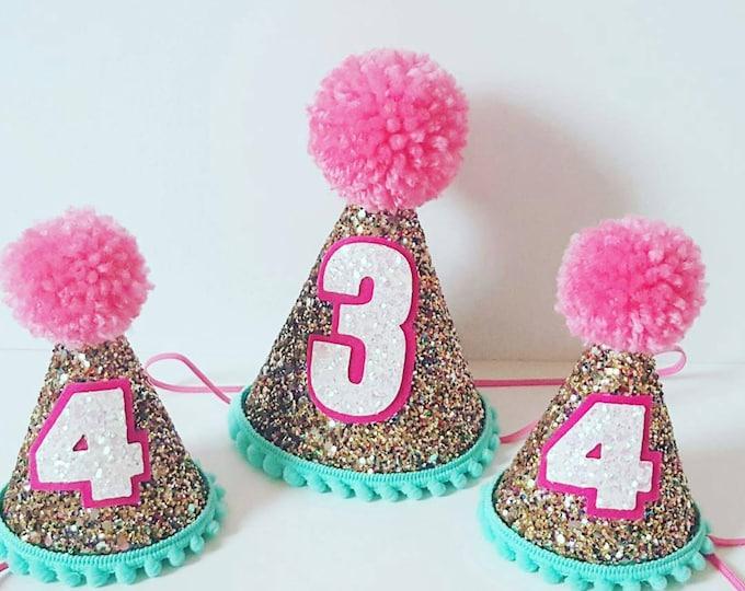 Glittery Birthday Hat || Party Hat || 30th Birthday || First Birthday || 2nd Birthday || Birthday Party Decor