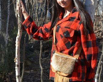 Leather Fringe Purse, Suede Handbag, Fur Purse, Fringe Bag, handmade purse, leather and fur bag, made in Canada, Music Festivals