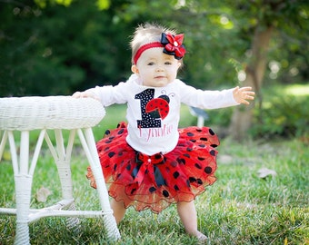 First Birthday Outfit Girl Ladybug birthday outfit,Black red 1st Birthday Girl Outfit Smash Cake Outfit baby girl ladybug diaper cover