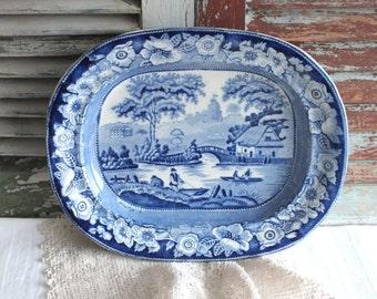 Blue Transferware Platter -  English Victorian Platter - Copeland Transferware Platter -  by avintage obsession on etsy