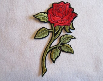 Embroidered Red Rose Iron On Patch. Rose Patch, Red Rose, Rose Iron On Patcn, Iron On Patch, Iron On Applique, Rose Applique