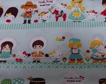Half price Hello kitty  with Small world printed light green colour one yard