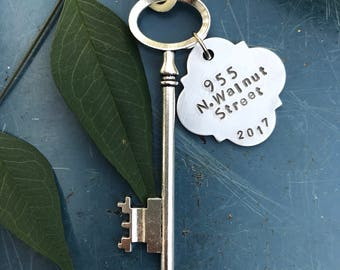 Personalized housewarming gift, Skeleton key, New home ornament, Key ornament, First Christmas,  first home ornament, new home