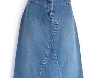 Vintage Blue Denim VILA A-line Calf Length Western Jean Ladies Skirt Size UK 8 - UK 10 / Waist