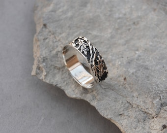 Falling Leaves Ring Band Size 7 1/2 Sterling Silver Oak Leaf Hand Made Cast