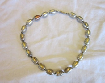 Vintage Silver on Copper Oval Beaded  Necklace