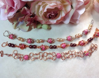 Wedding ~ Bridesmaid ~ Jewelry ~ Gifts Wire & Glass Bead Bracelet ~ Caged Bead Design ~ Handmade ~ Customizable
