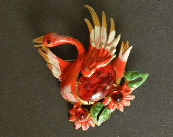 Vintage Art Deco Jelly Belly Swan Brooch