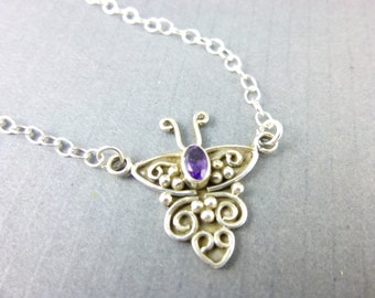Purple Amethyst Chakra Necklace, Crown Chakra, Butterfly Necklace, Healing Energy Crystals, Sterling Silver, Gemstone Pendant Necklace