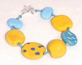 Sunshine Yellow and Sky Blue Kazuri Bracelet