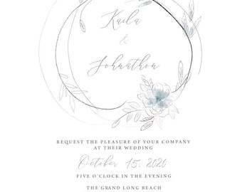 Watercolor Sketch Wedding invitation, Modern Sketched Flowers, Wedding Invitations - deposit to begin