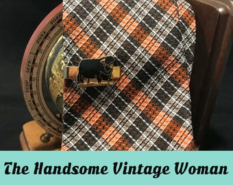 Orange and Brown Polyester Necktie, 1970s Plaid Pattern Neck Tie, Count Corsetti
